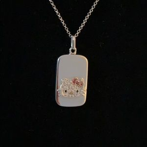 Authentic Hello Kitty Sterling Silver Tag Necklace